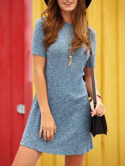 Blue Jersey Short Sleeve Shift Dress