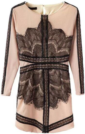 Round Neck Lace Slim Dress