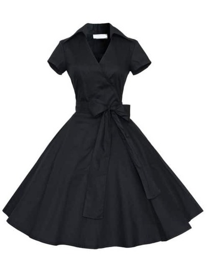 Black Short Sleeve Bow Shirtwaist Dress