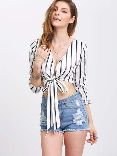 Deep V Neck Vertical Striped Knotted Shirt