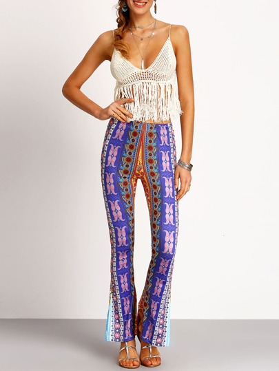 Purple Florals Bell-bottomed Pant
