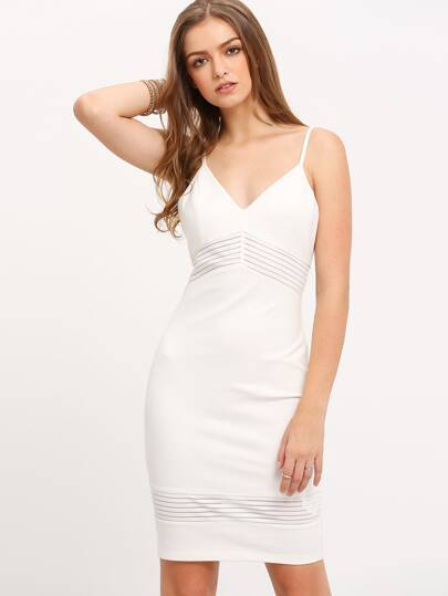 White Spaghetti Strap Mesh Panel V Neck Bodycon Dress