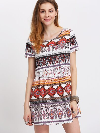 Multicolor Round Neck Tribal Print Vintage Blouse