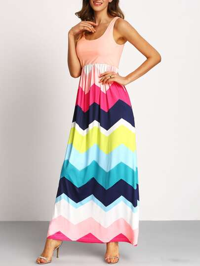 Multicolor Sleeveless Zig-Zag Print Maxi Dress