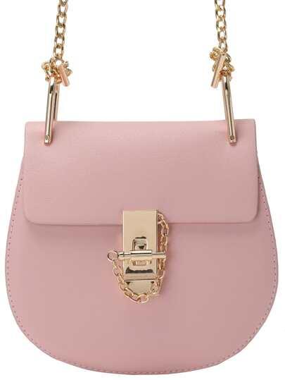 Pink Metallic Embellished PU Chain Bag