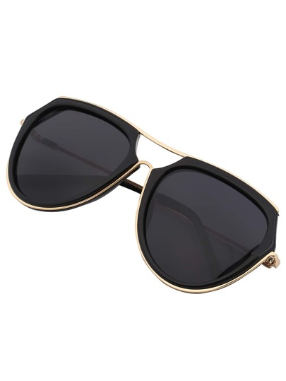 Mixed Frame Black Lenses Sunglasses With Top Bar