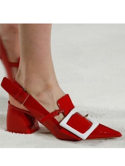 Red Faux Patent Leather Rentangle Buckle Sandals