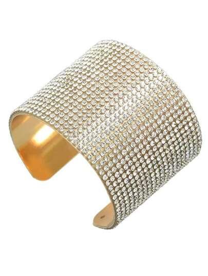 Gold Plated Rhinestone Cuff Bangle