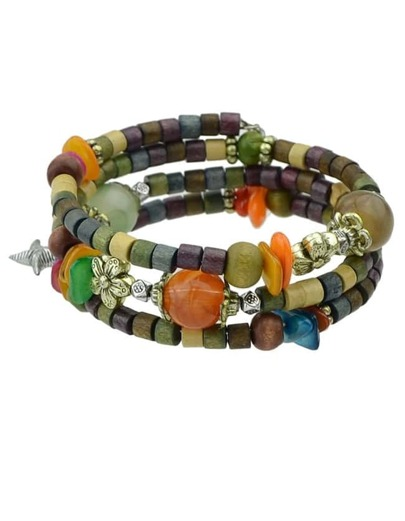 Colorful Layers Wooden Beads Bracelet