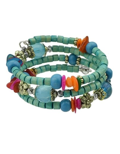 Blue Layers Wooden Beads Bracelet
