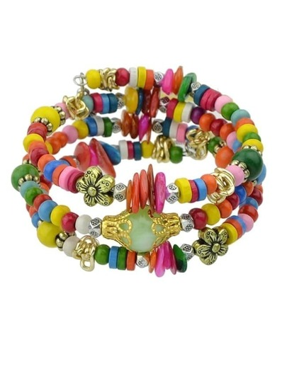 Colorful Wood Beads Bracelet
