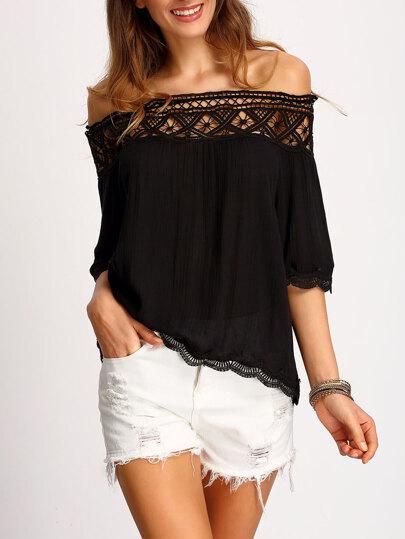 Schulterfreies T-Shirt mit hohlem Design -schwarz