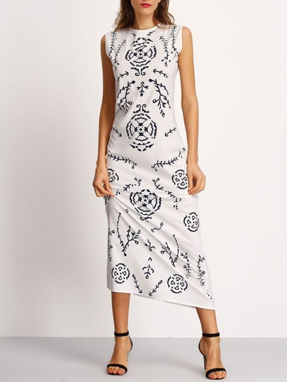 Sleeveless Leaves Print Dress