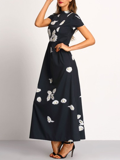 Black Mock Neck Flower Print Chiffon Dress