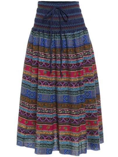 Paisley Print Skirt With Drawstring