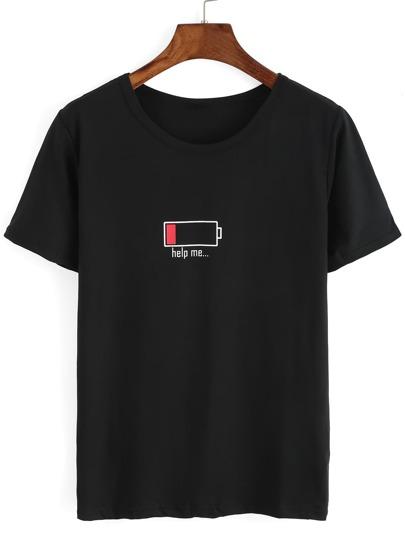 Battery Print Black T-shirt