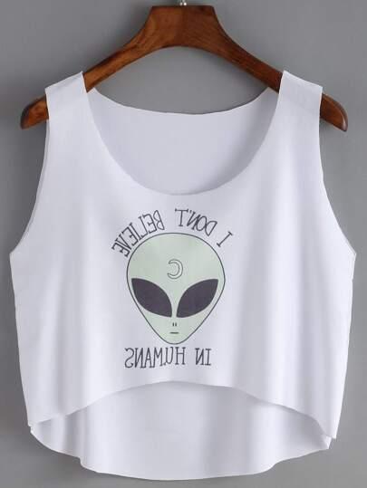 Dip Hem Alien Print Tank Top