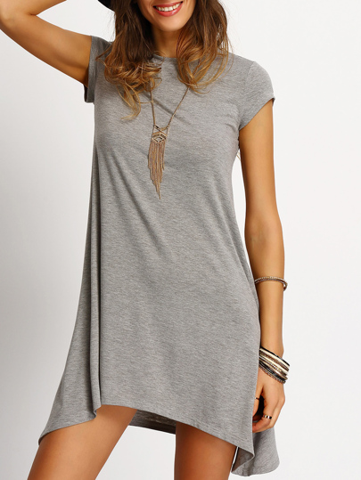 Grey Asymmetric Hem Casual Shift Dress