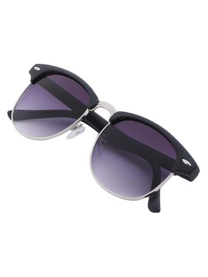 Black Browline Retro Sunglasses