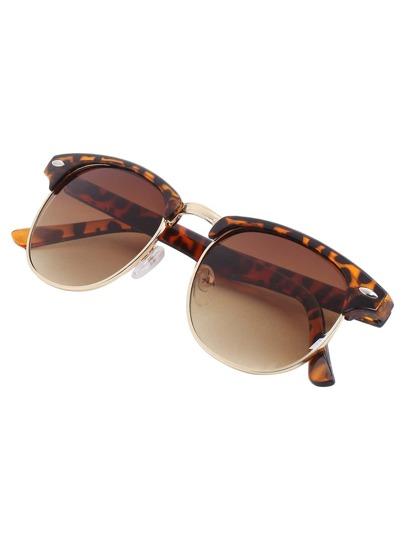 Gafas de sol retro browline -leopardo
