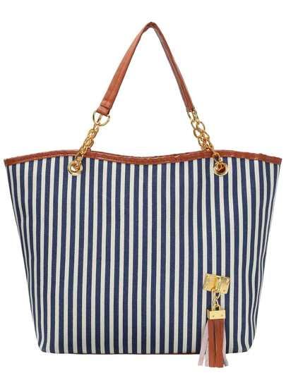 Blue Vertical Striped Tassel Canvas Shoulder Bag