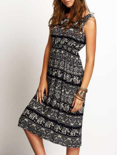 Kleid mit Druck rundhals ärmellos