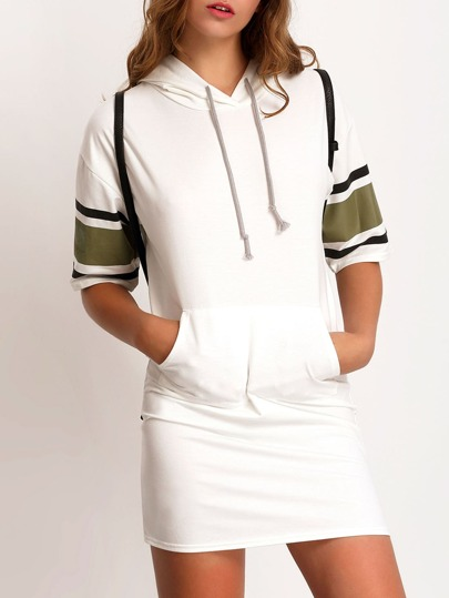 Hooded Striped Trim White Sweatshirt Dress With Drawstring