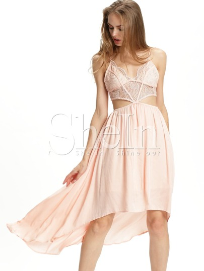 Pink Spagettic Strap Crisscross Asymmectric Dress