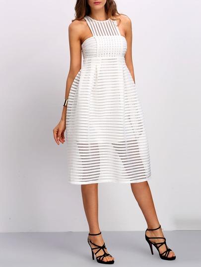 Striped Mesh Column High Waist Dress