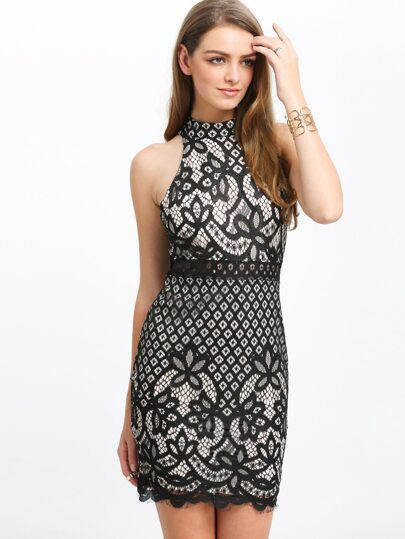 Black Mock Neck Keyhole Lace Bodycon Dress