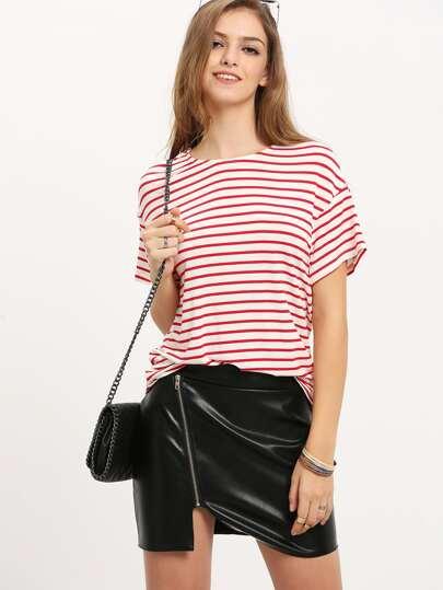 White Red Stripe Short Sleeve T-shirt