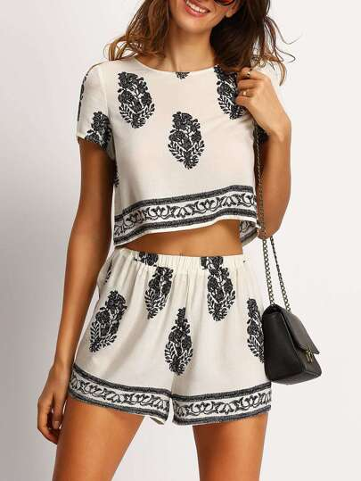 Beige Tree Print Crop Top With Shorts Suit
