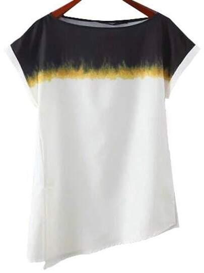 Multicolor Split Roll-cuff Print Blouse