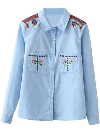 Blue Pockets Embroidery Denim Blouse