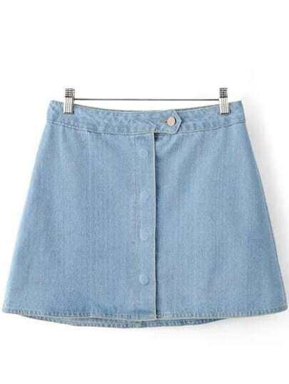 Blue Buttons Front Denim Skirt