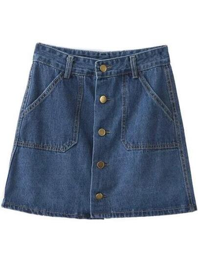 Blue Buttons Front Pockets Denim Skirt