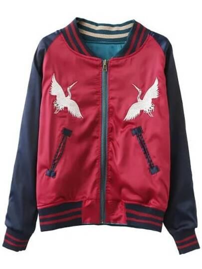 Red Long Sleeve Embroidery Baseball Jacket