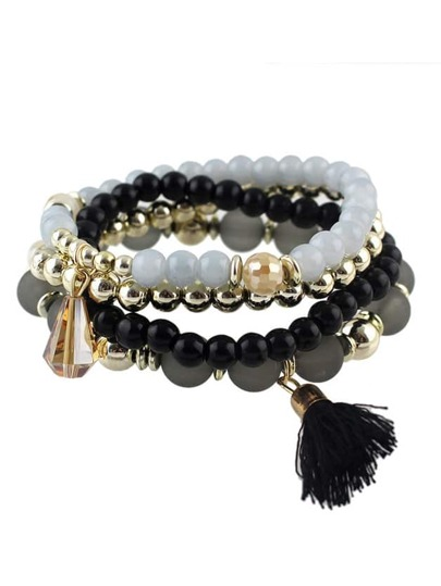Black Small Beads Stretch Bracelet