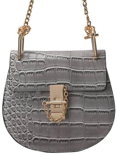 Grey Crocodile Embrossed Chain Saddle Bag