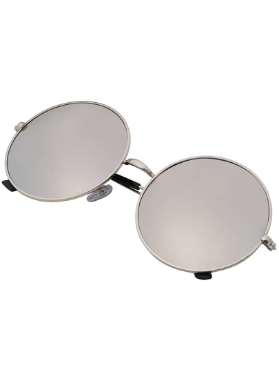 Sliver Mirrored Lenses Retro Round Sunglasses