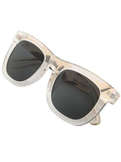 Transparent Frame Carved Metal Arms Sunglasses