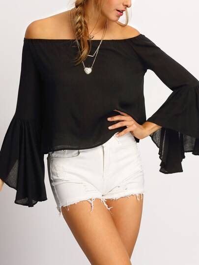 Black Off The Shoulder Bell Sleeve Shirt