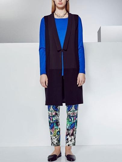 Black Shawl Collar Long Vest Coat