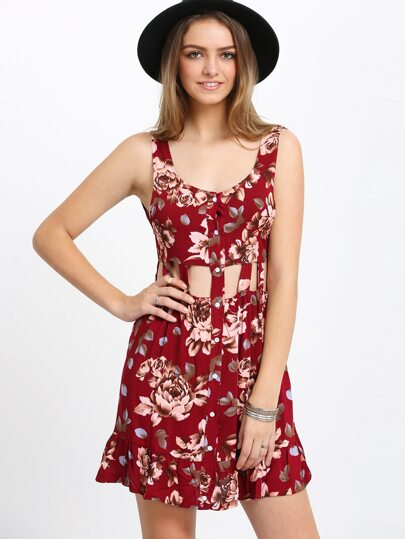 Waist Cutout Backless Flower Print Dress