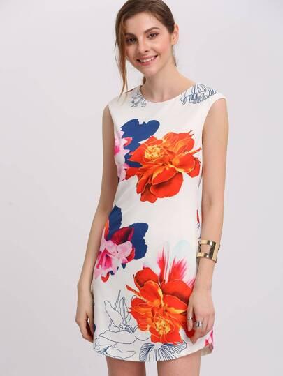 Vestido mini manga de cap floral -multicolor