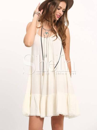 Beige Spagettic Strap Crisscross Back Pleated Dress