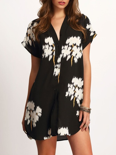 Black V-neck Floral Print Dolphin Hem Dress