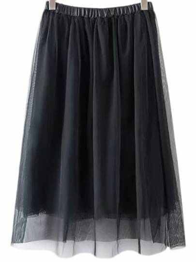 Black Elastic Waist Gauze Flare Skirt