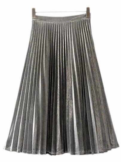 Silver Zipper Side Pleated Flare Skirt
