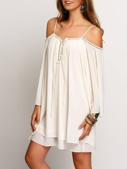 Cold Shoulder Layers Chiffon Dress